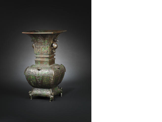 A rare and large archaistic bronze vase, gu, Ming dynasty (possibly Song, to be confirmed following