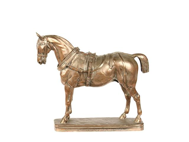 John Willis Good (1845-1879): A silvered bronze model of a carriage horse cast by Elkington & Co.