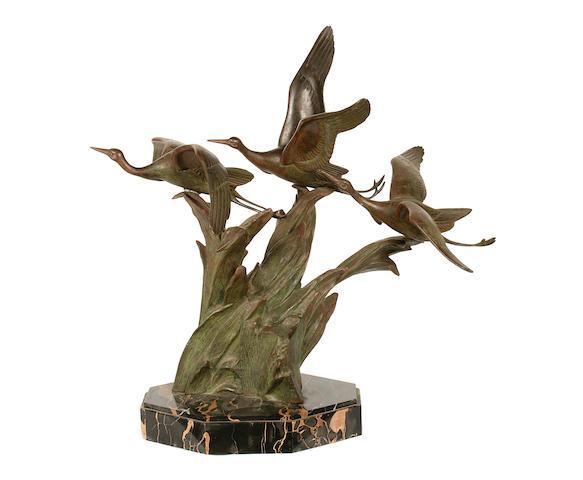 Irene Rochard (French, 1906-1984): A bronze model of flying cranes