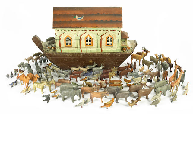 A large and extremely fine wooden Noah's Ark and animals, German 1870s-80s