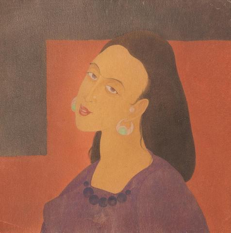 Abdur Rahman Chughtai (Pakistan, 1897-1975) Face Study,