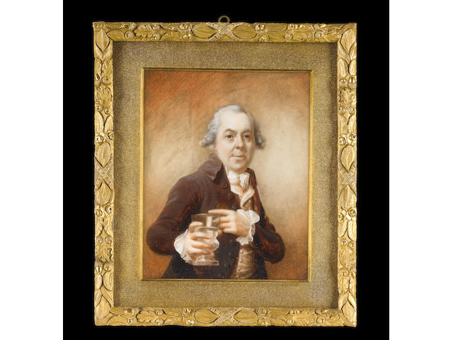 Joseph Daniel (British, circa 1760-1803) A Gentleman, half-length, wearing brown coat, cream waistcoat, frilled white shirt cuffs, cravat and powdered wig, his left hand pointing to a wine goblet of water held in his right hand