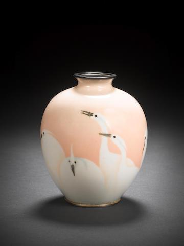 A cloisonné enamel vase By Kin'unken of Kyoto, Meiji Period