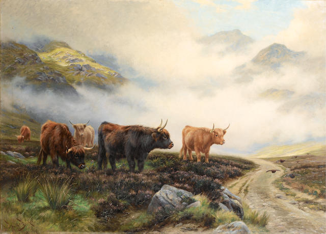 Wright Barker (British, 1863-1941) Highland cattle in a pass