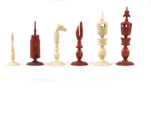 An Indian Export ivory chess set, Rajhasthan, circa 1850,
