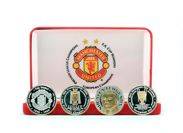 Franklin Mint limited edition Manchester United treble season coin set