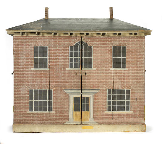 Early painted red brick wooden dolls house, English circa 1820