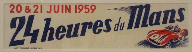 An official 1959 24 Heures du Mans window advertising display,