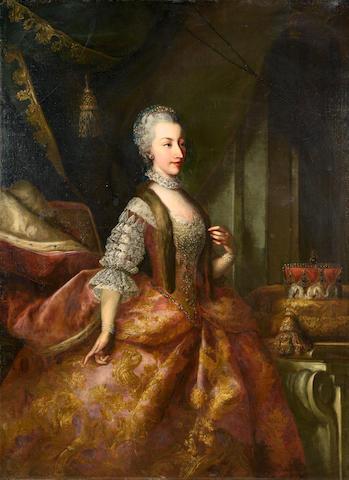 Johann Gottfried Auerbach (Mühlhausen 1697-1753 Vienna) Portrait of Amalia, Archduchess of Austria,