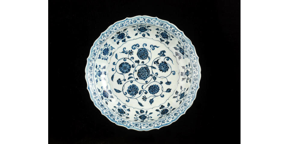 A blue and white barbed-rim dish Early 15th century