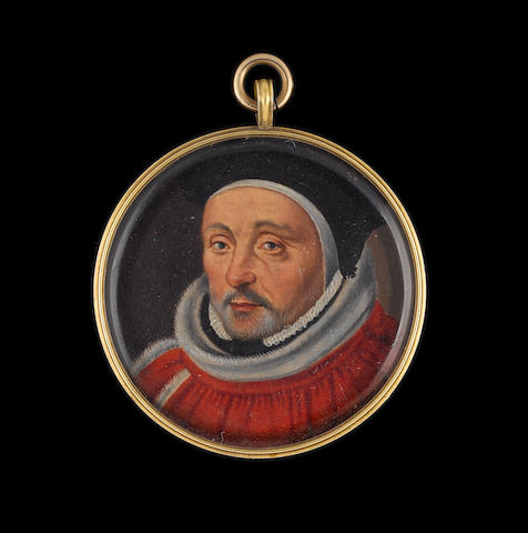 English School, circa 1575 A Judge, probably Sir John Clench (c.1535–1607), wearing miniver lined crimson cloak closed at his right shoulder, white fur tippet, small ruff, white coif and black felt cap