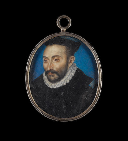 Circle of François Clouet (French, 1522-1572) A Gentleman, aged 42, wearing black robes, white ruff and black hat