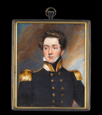 Charles Richard Bone (British, 1809-circa 1880) Captain Richard H. King RN, wearing Naval uniform, blue coat with gold epaulettes, buttons stamped with anchors and gold edged white collar