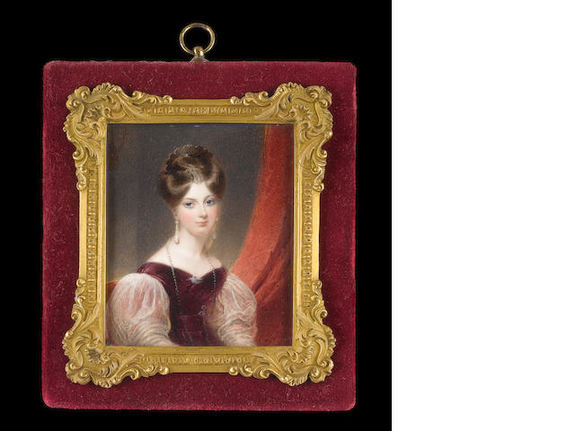 Thomas Hargreaves (British, 1775-1846) A Lady, seated in a red upholstered chair, wearing plum coloured dress with puffed white gauze sleeves, seed pearl brooch in the form of a bird at her corsage, pearl necklace, pendent pearl earrings and comb in her upswept hair, red curtain beyond