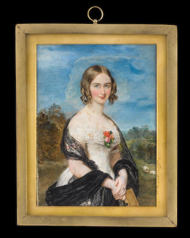 Sir William Charles Ross, RA (British, 1794-1860) Maria, Lady Culme-Seymour (née Smith) (d.1887), standing three-quarter length, wearing white dress with short sleeves banded with pink ribbon, a corsage of camelias pinned to her wide lace collar, black lace stole about her shoulders and black silk-lined mantle over her wrists, she holds a book in her right hand, landscape with sheep beyond