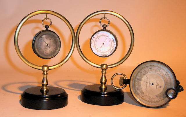 Three turn of the 20th century portable aneroid barometers, 3