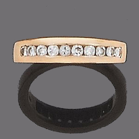 A diamond half-hoop eternity ring