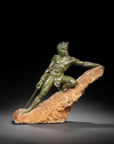 R. Papa 'Rock Climber' a large green patinated bronze Figure, circa 1925