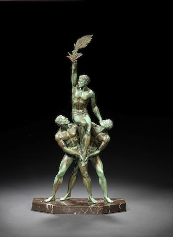 Pierre Le Faguays 'Tropheé' a green patinated bronze figural Group, circa 1925