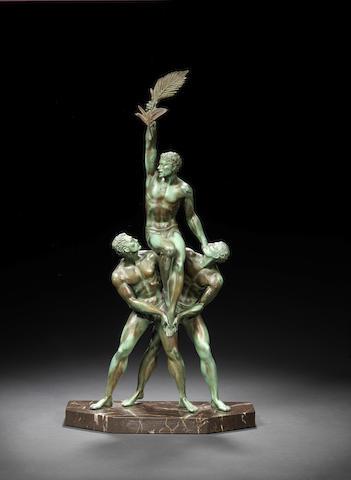 Pierre Le Faguays 'Tropheé' a green patinated bronze figural Group, circa 1925