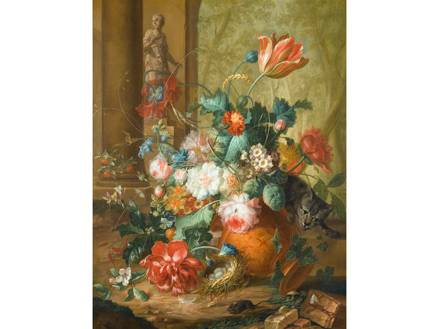 Johannes Christianus Roedig (The Hague 1751-1802) Tulips, roses and other flowers in a classical urn overturned by a cat chasing a mouse with a statue of Flora beyond; and Peaches, grapes, pumpkins, a lemon, a pomegranate and other fruit and flowers in a wicker basket on a marble plinth, with a classical urn beyond (2)