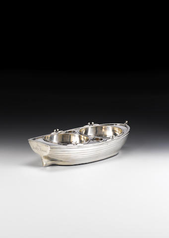 "A George III silver ""Jolly boat"" double wine trolley, by John Emes, London 1799,"