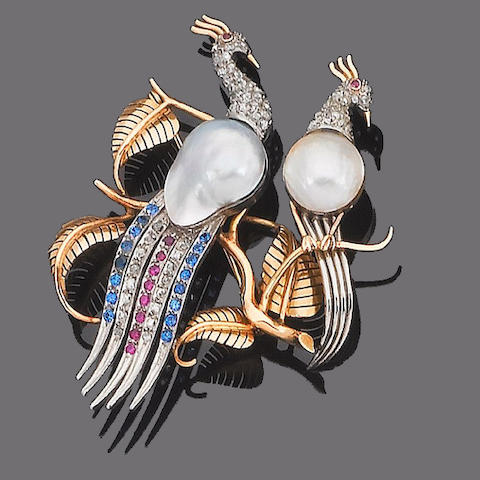 A cultured mabé pearl, gem-set and diamond peacock brooch,