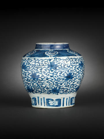 A blue and white six-sided globular jar Wanli