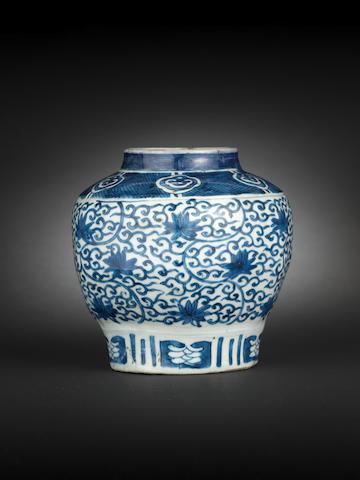 A blue and white six-sided globular jar Wanli
