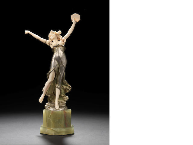 Preiss bronze and ivory figure - damage to thumb and missing tambourine