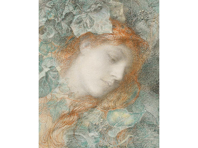 Henry John Stock, RI ROI (British, 1853-1930) Portrait of a girl surrounded by ivy leaves