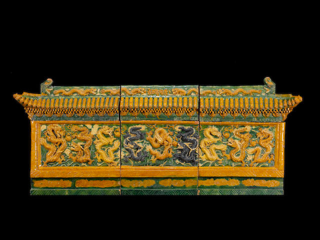 A large Sancai nine-dragon architectural frieze Late Ming Dynasty or later