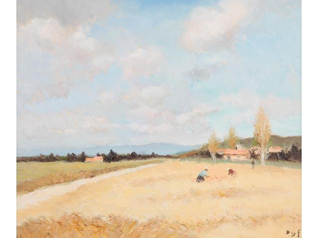 Marcel Dyf (French, 1899-1985) Figures in a cornfield