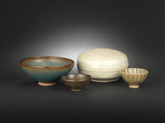 Four early monochrome glazed stonewares 13th-15th century