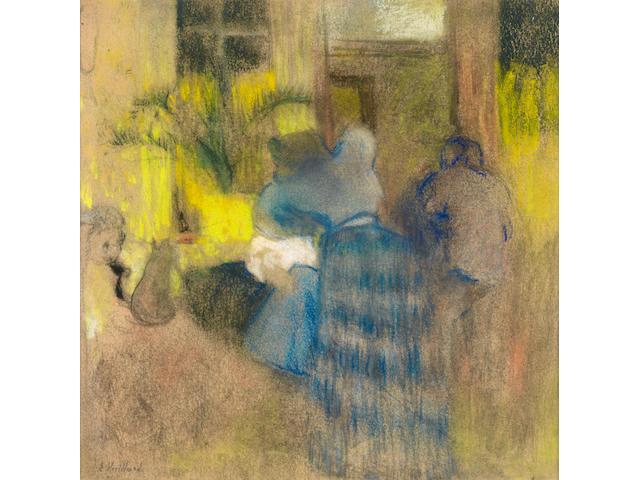 Edouard Vuillard (French, 1868-1940) Intèrieur jaune et bleu, chat et enfant