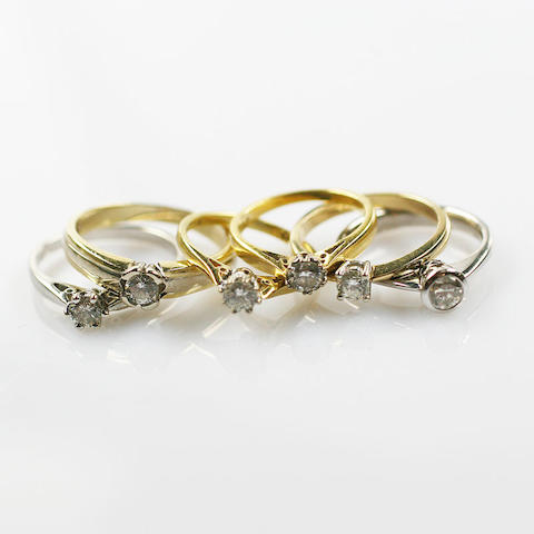 Five solitaire diamond rings