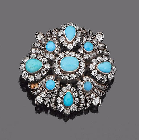 A turquoise and diamond brooch/pendant,