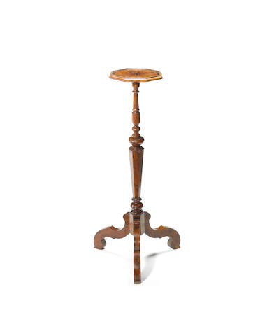 A William and Mary yew-wood Torchere