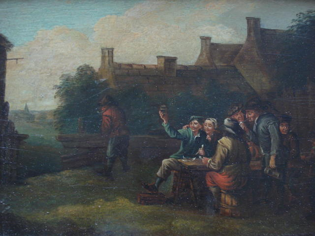 Follower of Teniers Revellers outside an inn