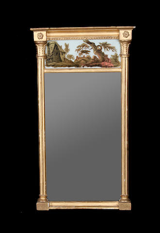 A small Regency giltwood and composition verre eglomise pier mirror