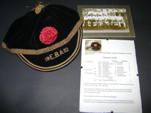 1932 England baseball cap awarded to Edward 'Teddy' Jones