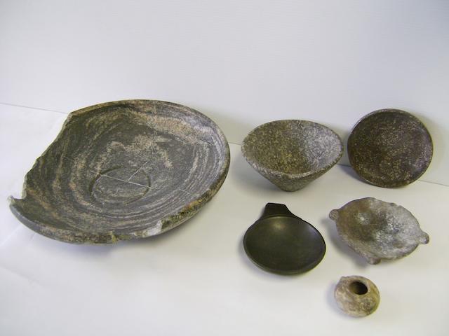Six Egyptian stone vessels 6