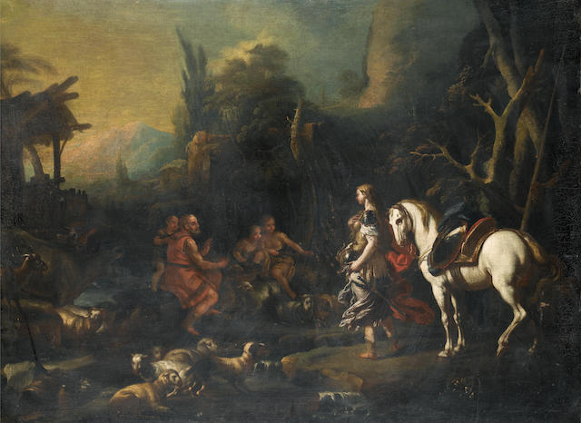 Circle of Francesco Solimena (Canale di Serino 1657-1747 Barra di Napoli) Erminia and the Shepherds unframed