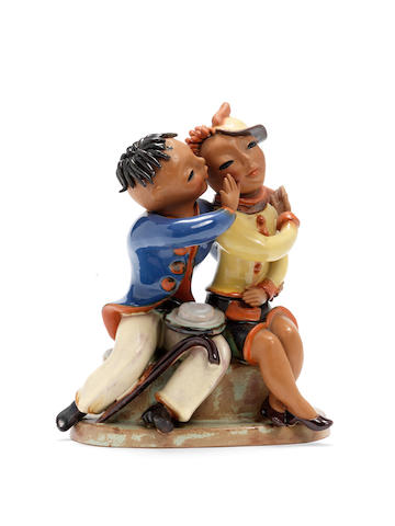 Goldscheider A terracotta Figural Group of a Young Couple, circa 1925