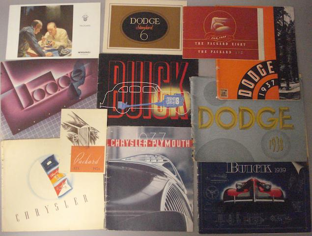 Assorted pre-War sales brochures for American cars,