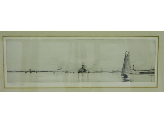 William Lionel Wyllie, R.A., R.E. (British, 1851-1931) Shipping at Spithead.