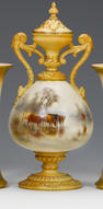 A Grainger vase and cover by John Stinton Dated 1902.