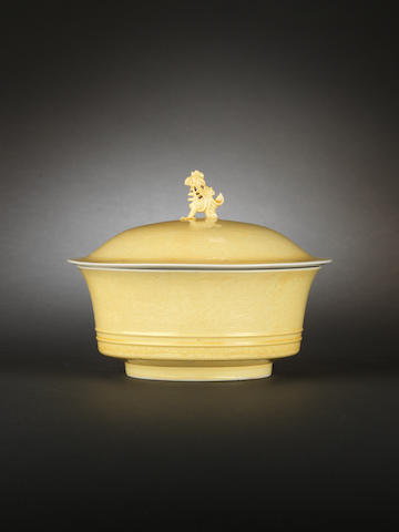 A very rare 'Imperial yellow' bowl and cover Yongzheng six-character marks and of the period