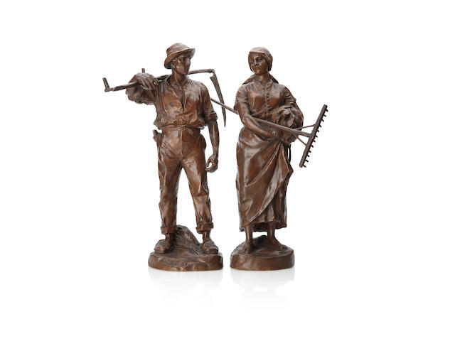 A pair of bronze figures of farm workers By H. Muller