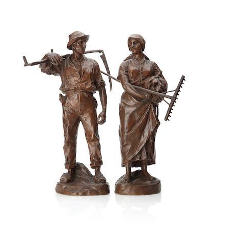A pair of bronze figures of farm workersBy H. Muller